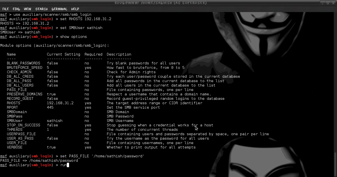 Brute-force SMB Shares in Windows 7 using Metasploit | LINUX