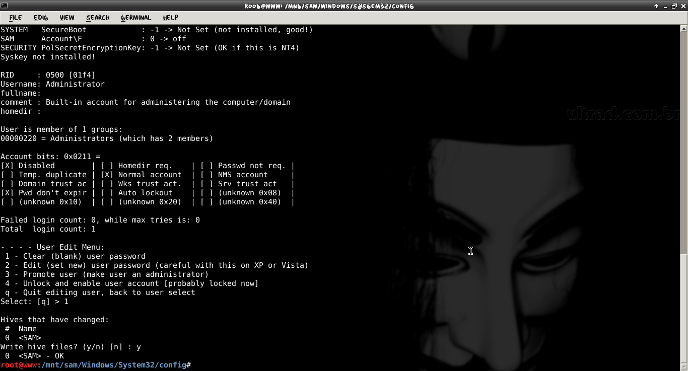 Crack and Reset the system password locally using Kali linux